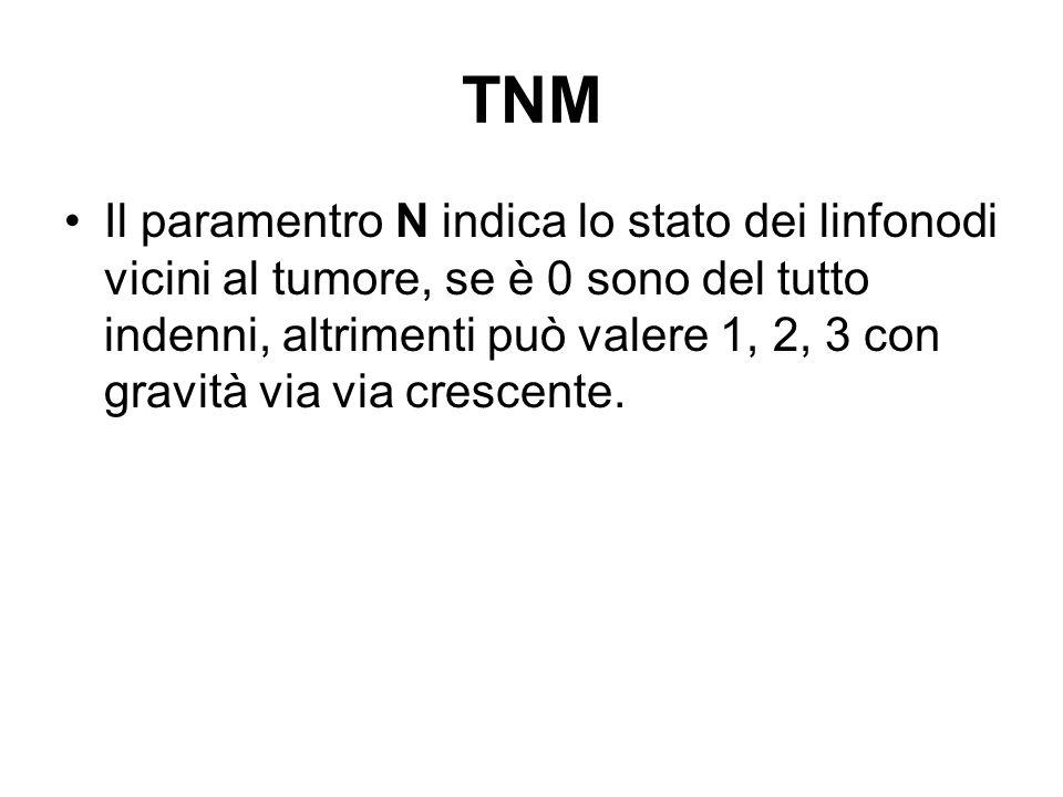 TNM Il paramentro N indica lo stato dei linfonodi vicini al tumore, se è 0 sono del tutto indenni, altrimenti può valere 1, 2, 3 con gravità via via c