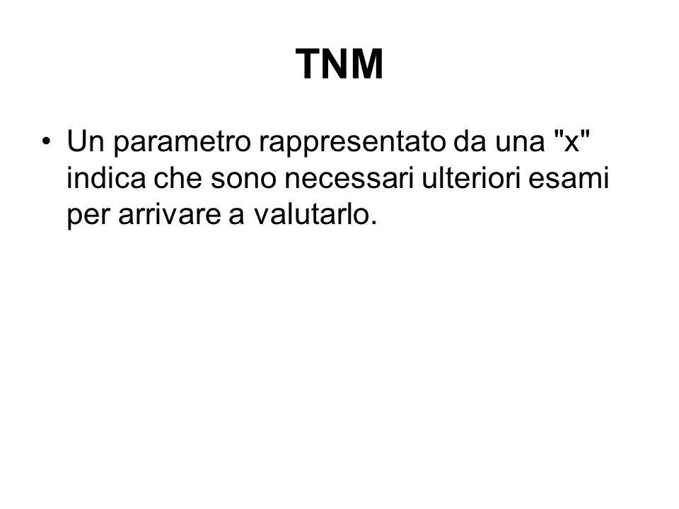 TNM Un altro paramentro significativo è il grado di aggressività del tumore (G) che va da 1 a 4, ma la sua importanza è molto minore rispetto ai parametri T, N, M e pertanto non viene utilizzato nella classificazione TNM