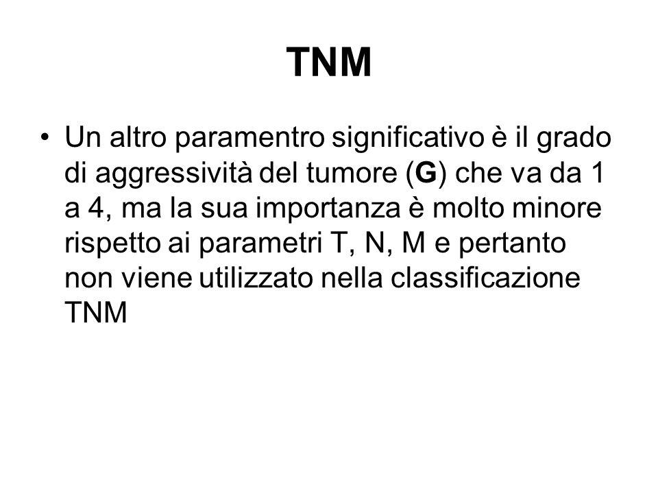 TNM Un altro paramentro significativo è il grado di aggressività del tumore (G) che va da 1 a 4, ma la sua importanza è molto minore rispetto ai param