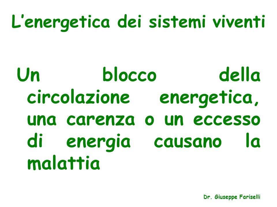 L'energetica dei sistemi viventi Un blocco della circolazione energetica, una carenza o un eccesso di energia causano la malattia Dr.
