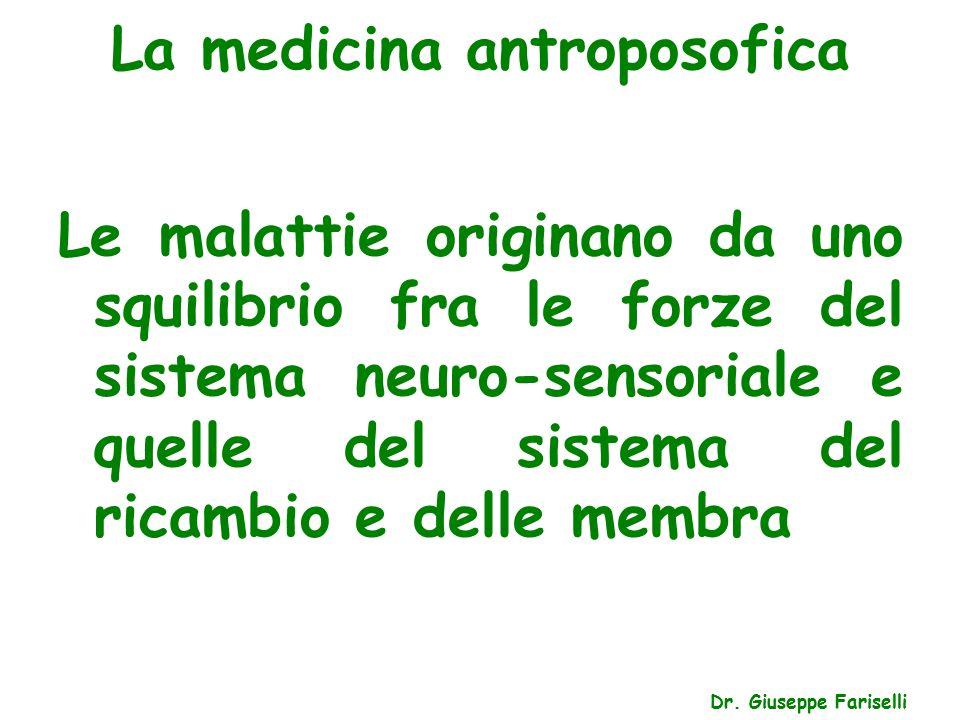 La medicina antroposofica Dr. Giuseppe Fariselli Le malattie originano da uno squilibrio fra le forze del sistema neuro-sensoriale e quelle del sistem