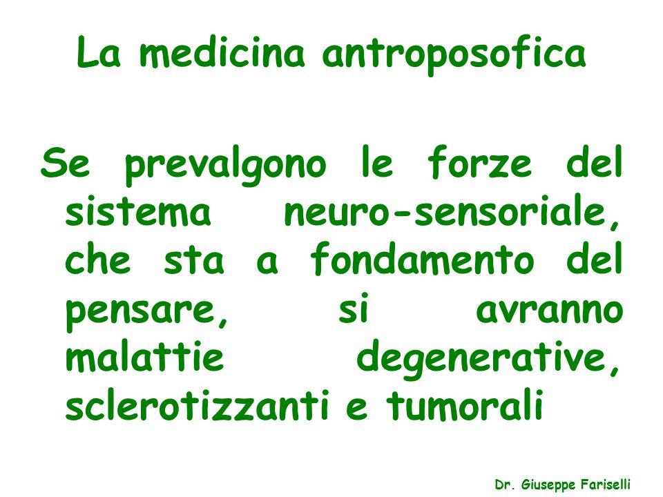 La medicina antroposofica Dr. Giuseppe Fariselli Se prevalgono le forze del sistema neuro-sensoriale, che sta a fondamento del pensare, si avranno mal