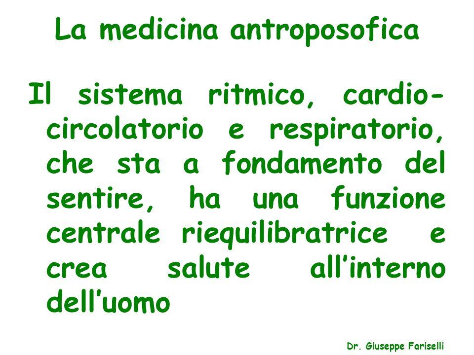 La medicina antroposofica Dr. Giuseppe Fariselli Il sistema ritmico, cardio- circolatorio e respiratorio, che sta a fondamento del sentire, ha una fun