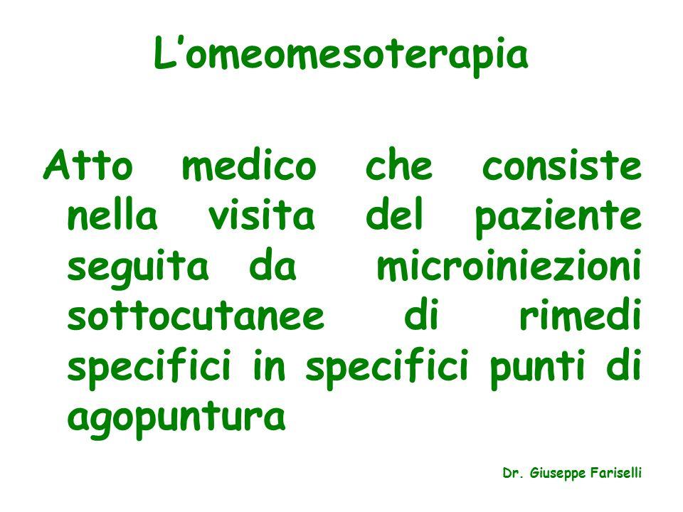 L'omeomesoterapia Atto medico che consiste nella visita del paziente seguita da microiniezioni sottocutanee di rimedi specifici in specifici punti di agopuntura Dr.