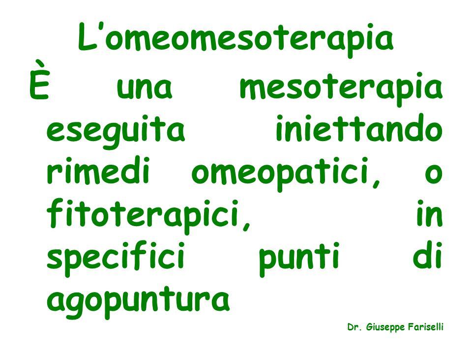 L'omeomesoterapia È una mesoterapia eseguita iniettando rimedi omeopatici, o fitoterapici, in specifici punti di agopuntura Dr.