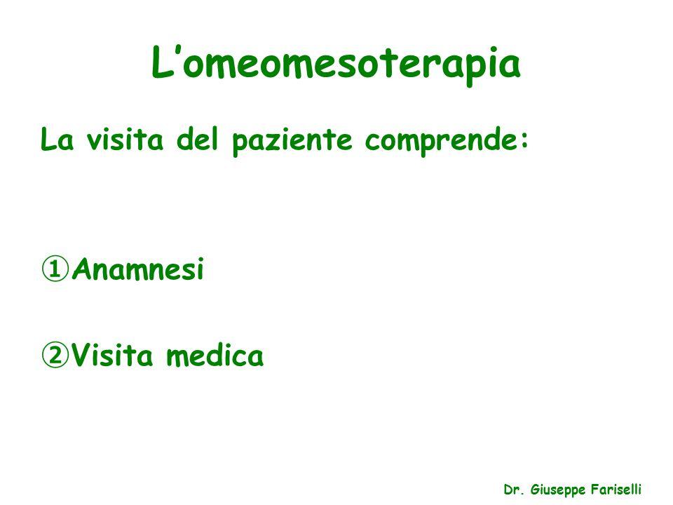 L'omeomesoterapia La visita del paziente comprende: ① Anamnesi ② Visita medica Dr.