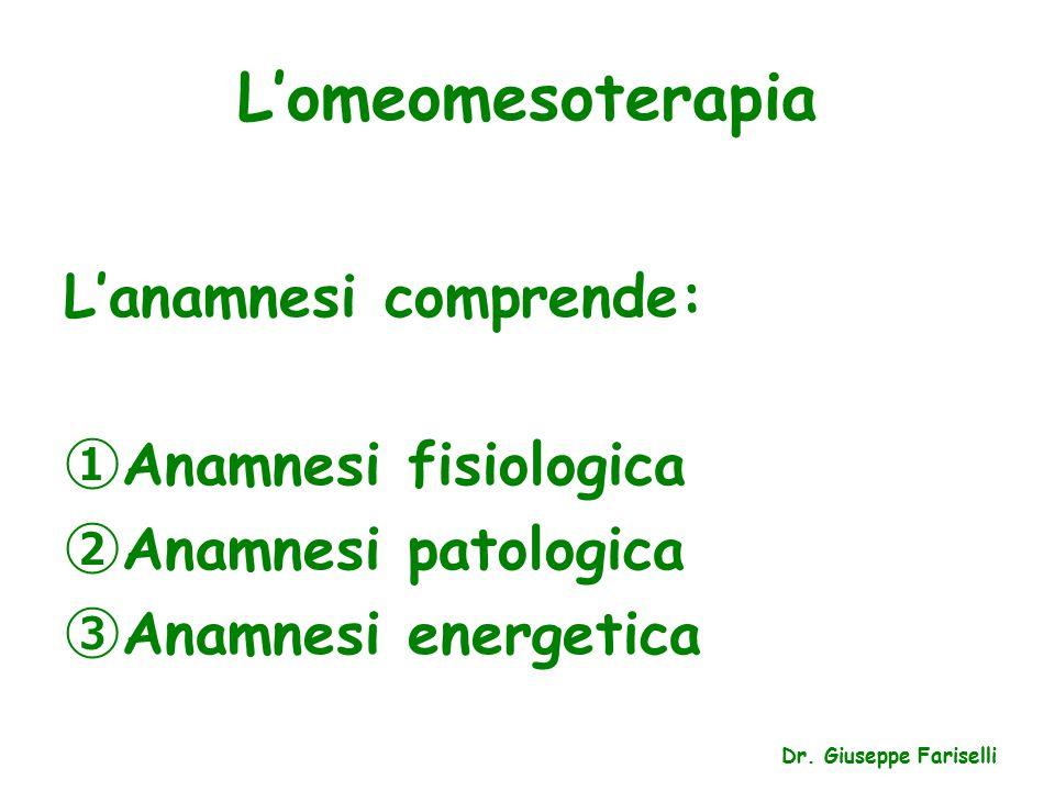 L'omeomesoterapia L'anamnesi comprende: ① Anamnesi fisiologica ② Anamnesi patologica ③ Anamnesi energetica Dr.