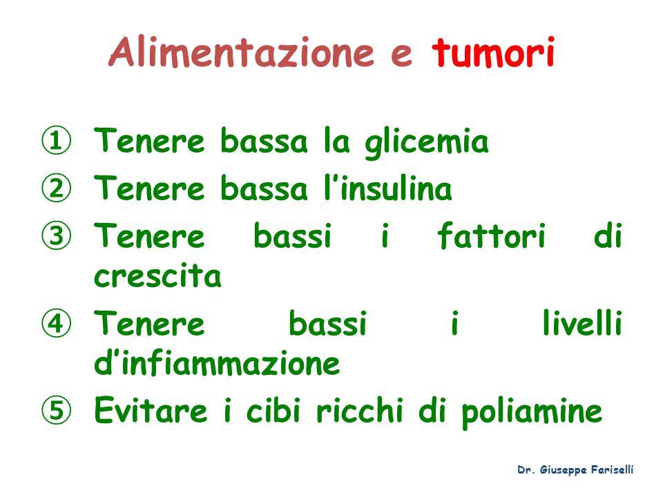 Alimentazione e tumori ① Tenere bassa la glicemia ② Tenere bassa l'insulina ③ Tenere bassi i fattori di crescita ④ Tenere bassi i livelli d'infiammazione ⑤ Evitare i cibi ricchi di poliamine Dr.