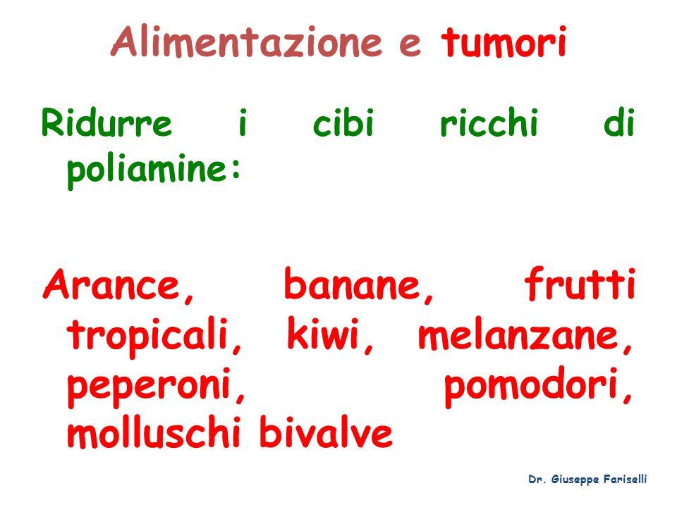 Alimentazione e tumori Ridurre i cibi ricchi di poliamine: Arance, banane, frutti tropicali, kiwi, melanzane, peperoni, pomodori, molluschi bivalve Dr.