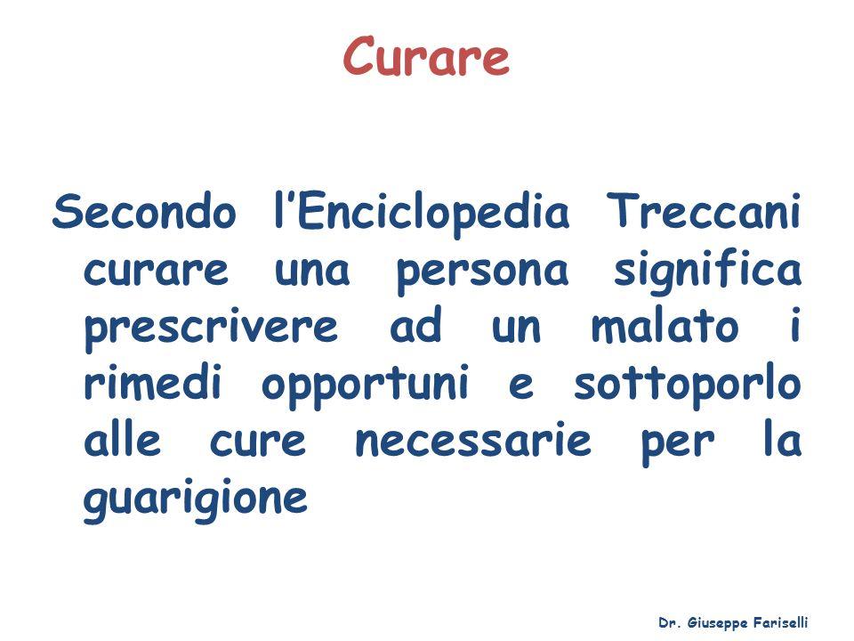 Curare Secondo l'Enciclopedia Treccani curare una persona significa prescrivere ad un malato i rimedi opportuni e sottoporlo alle cure necessarie per la guarigione Dr.