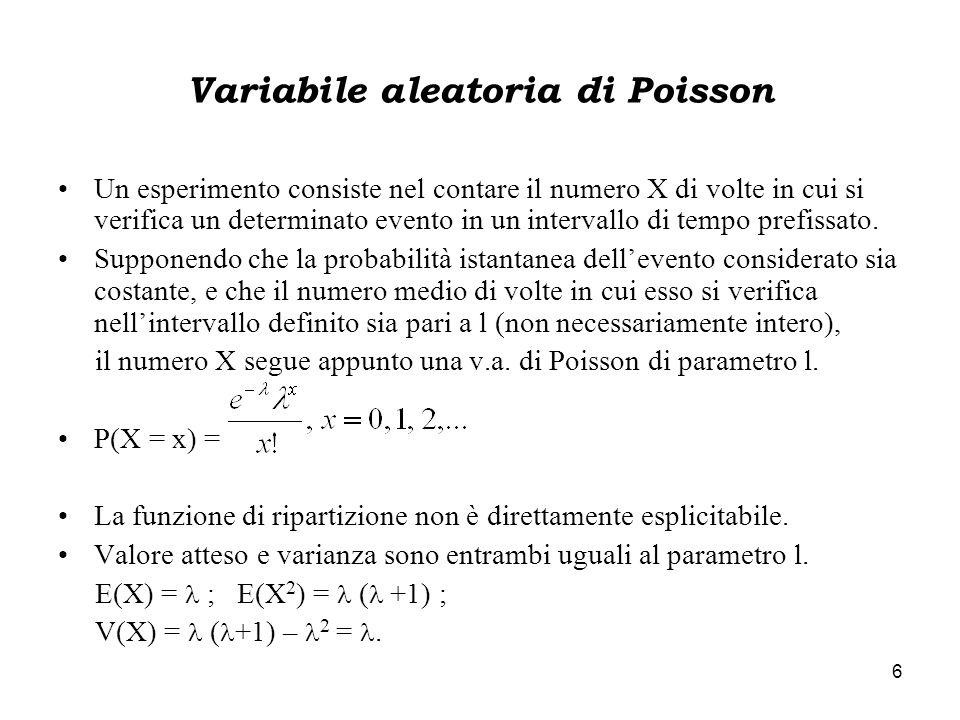 6 Variabile aleatoria di Poisson Un esperimento consiste nel contare il numero X di volte in cui si verifica un determinato evento in un intervallo di