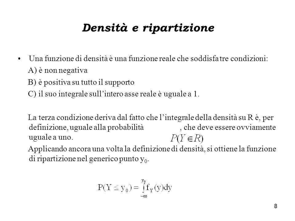 8 Densità e ripartizione Una funzione di densità è una funzione reale che soddisfa tre condizioni: A) è non negativa B) è positiva su tutto il support