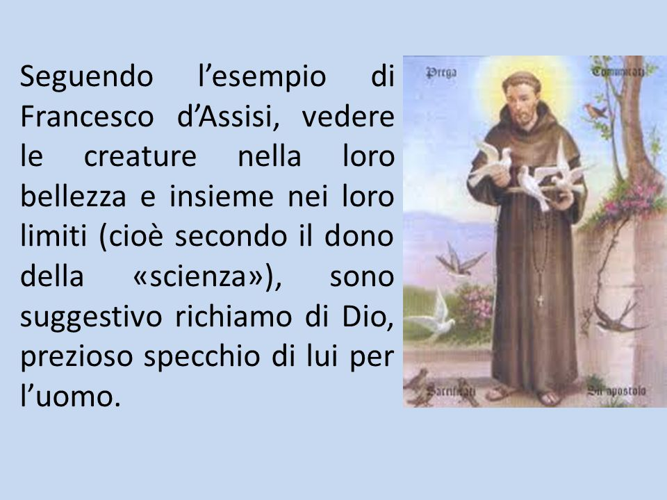 Seguendo l'esempio di Francesco d'Assisi, vedere le creature nella loro bellezza e insieme nei loro limiti (cioè secondo il dono della «scienza»), son