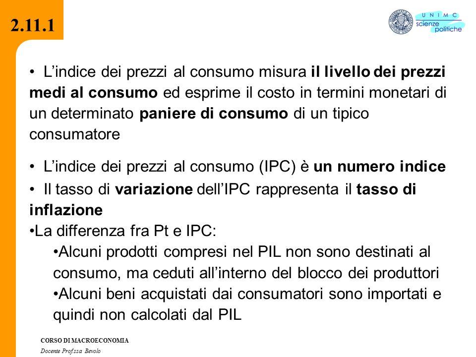 2.2.1 CORSO DI MACROECONOMIA Docente Prof.ssa Bevolo 2.11.1 L'indice dei prezzi al consumo misura il livello dei prezzi medi al consumo ed esprime il costo in termini monetari di un determinato paniere di consumo di un tipico consumatore L'indice dei prezzi al consumo (IPC) è un numero indice Il tasso di variazione dell'IPC rappresenta il tasso di inflazione La differenza fra Pt e IPC: Alcuni prodotti compresi nel PIL non sono destinati al consumo, ma ceduti all'interno del blocco dei produttori Alcuni beni acquistati dai consumatori sono importati e quindi non calcolati dal PIL 2.11.1