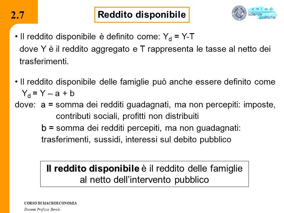 2.2.1 CORSO DI MACROECONOMIA Docente Prof.ssa Bevolo 2.7 Reddito disponibile Il reddito disponibile è definito come: Y d = Y-T dove Y è il reddito aggregato e T rappresenta le tasse al netto dei trasferimenti.