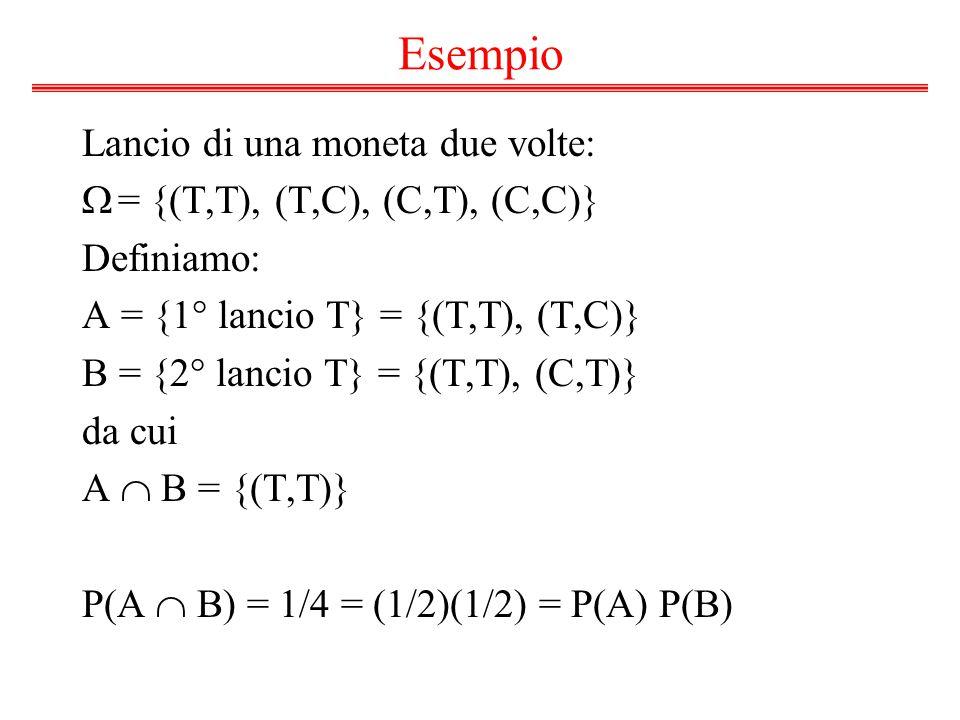 Esempio Lancio di una moneta due volte:  = {(T,T), (T,C), (C,T), (C,C)} Definiamo: A = {1° lancio T} = {(T,T), (T,C)} B = {2° lancio T} = {(T,T), (C,