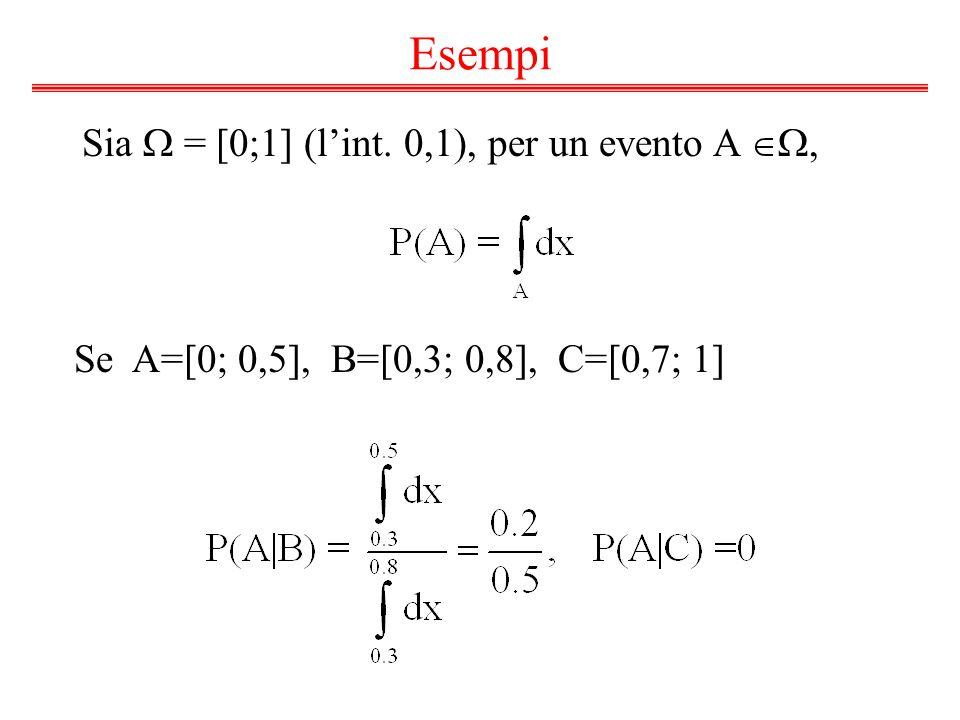 Esempi Sia  = [0;1] (l'int. 0,1), per un evento A , Se A=[0; 0,5], B=[0,3; 0,8], C=[0,7; 1]