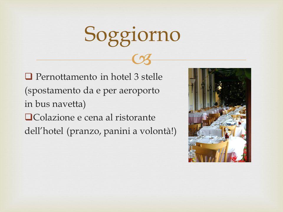   Pernottamento in hotel 3 stelle (spostamento da e per aeroporto in bus navetta)  Colazione e cena al ristorante dell'hotel (pranzo, panini a volo