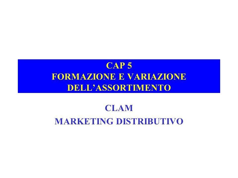 CAP 5 FORMAZIONE E VARIAZIONE DELL'ASSORTIMENTO CLAM MARKETING DISTRIBUTIVO