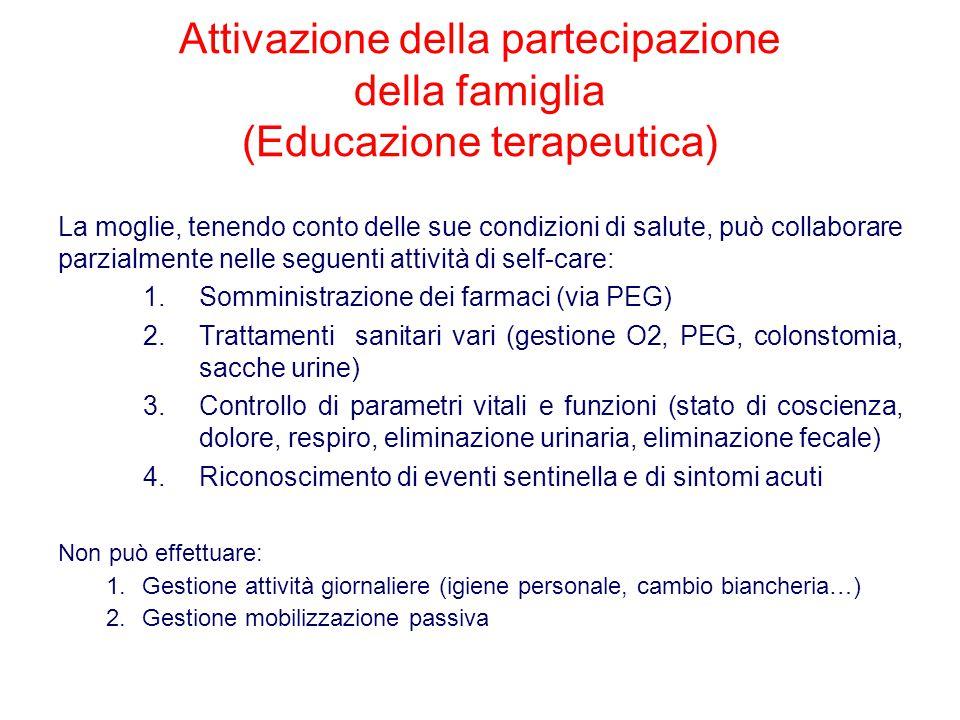 Attivazione della partecipazione della famiglia (Educazione terapeutica) La moglie, tenendo conto delle sue condizioni di salute, può collaborare parz