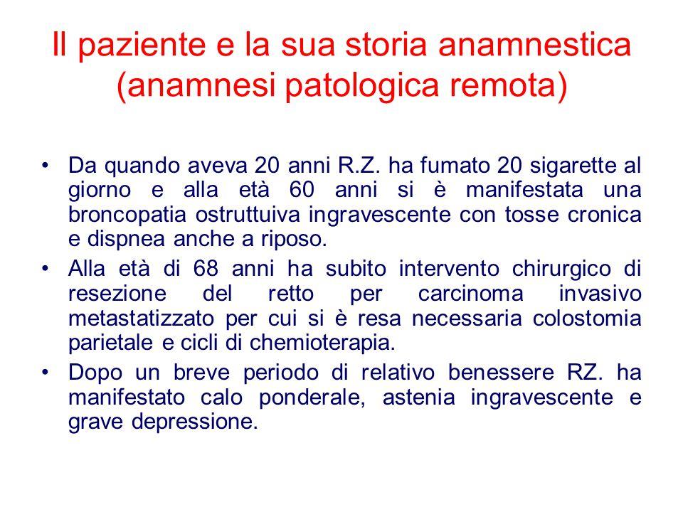 Il paziente e la sua storia anamnestica (anamnesi patologica remota) Da quando aveva 20 anni R.Z. ha fumato 20 sigarette al giorno e alla età 60 anni