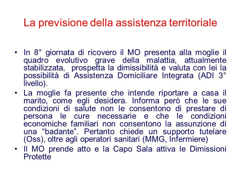 La previsione della assistenza territoriale In 8° giornata di ricovero il MO presenta alla moglie il quadro evolutivo grave della malattia, attualment