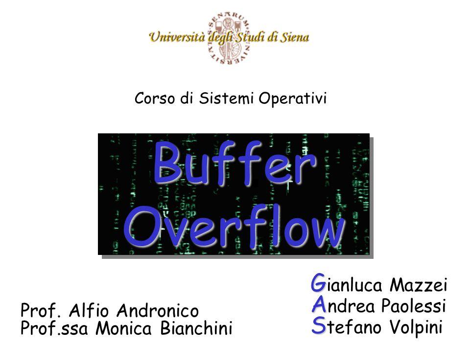 Buffer Overflow G G ianluca Mazzei A A ndrea Paolessi S S tefano Volpini Corso di Sistemi Operativi Prof.
