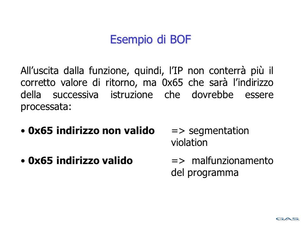 All'uscita dalla funzione, quindi, l'IP non conterrà più il corretto valore di ritorno, ma 0x65 che sarà l'indirizzo della successiva istruzione che dovrebbe essere processata: 0x65 indirizzo non valido => segmentation violation 0x65 indirizzo valido => malfunzionamento del programma Esempio di BOF