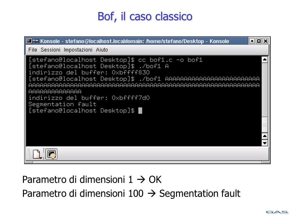 Bof, il caso classico Parametro di dimensioni 1  OK Parametro di dimensioni 100  Segmentation fault