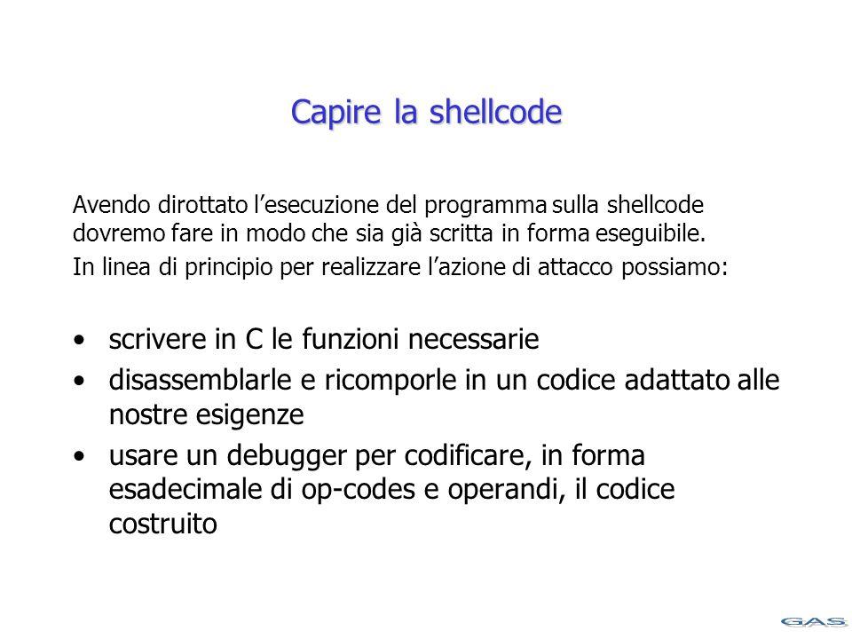 Capire la shellcode Avendo dirottato l'esecuzione del programma sulla shellcode dovremo fare in modo che sia già scritta in forma eseguibile.