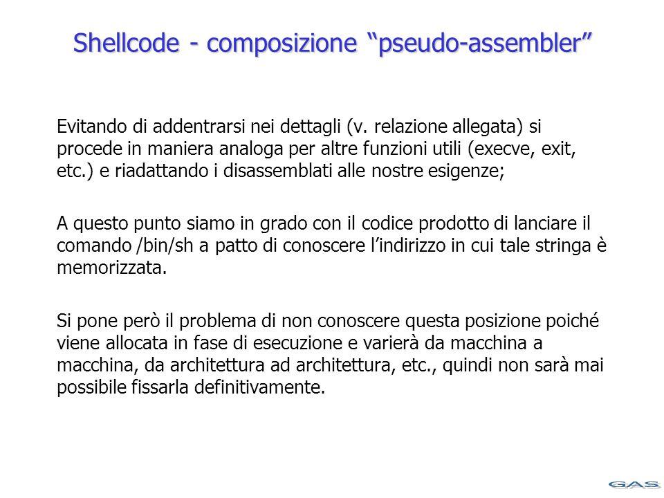 Shellcode - composizione pseudo-assembler Evitando di addentrarsi nei dettagli (v.