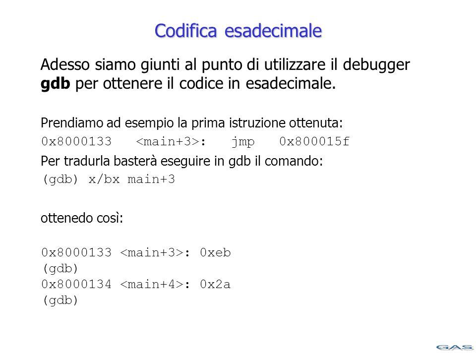 Codifica esadecimale Adesso siamo giunti al punto di utilizzare il debugger gdb per ottenere il codice in esadecimale.