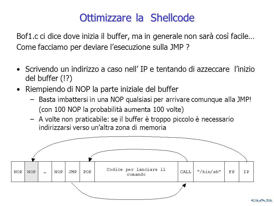 Ottimizzare la Shellcode Bof1.c ci dice dove inizia il buffer, ma in generale non sarà così facile… Come facciamo per deviare l'esecuzione sulla JMP .