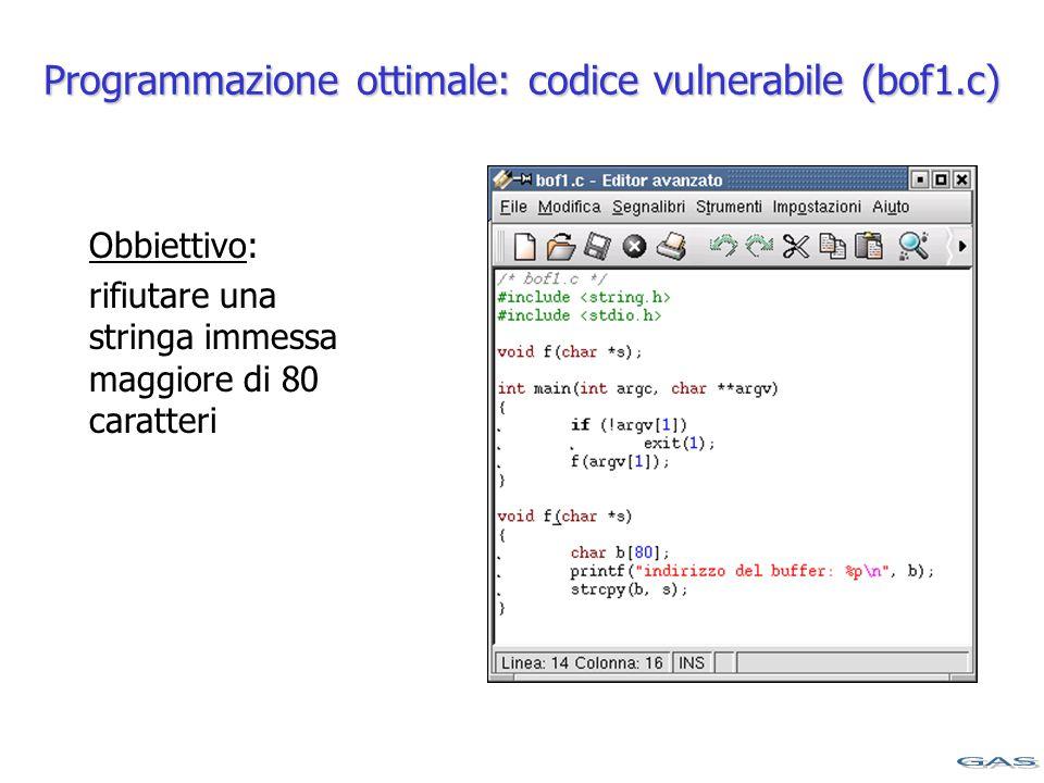 Programmazione ottimale: codice vulnerabile (bof1.c) Obbiettivo: rifiutare una stringa immessa maggiore di 80 caratteri