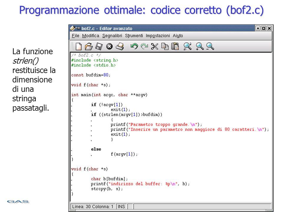 Programmazione ottimale: codice corretto (bof2.c) La funzione strlen() restituisce la dimensione di una stringa passatagli.