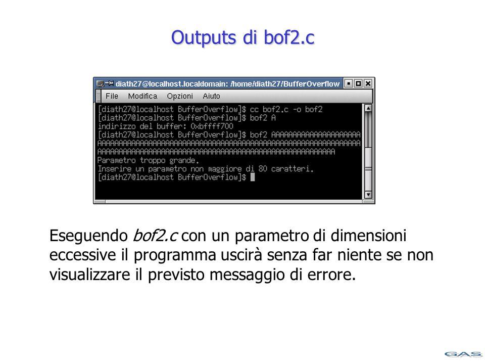 Outputs di bof2.c Eseguendo bof2.c con un parametro di dimensioni eccessive il programma uscirà senza far niente se non visualizzare il previsto messaggio di errore.