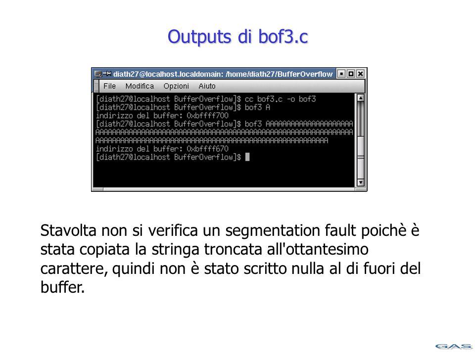 Outputs di bof3.c Stavolta non si verifica un segmentation fault poichè è stata copiata la stringa troncata all ottantesimo carattere, quindi non è stato scritto nulla al di fuori del buffer.