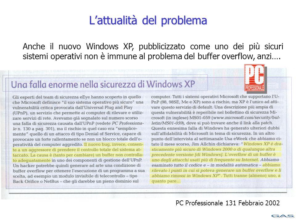 L'attualità del problema Anche il nuovo Windows XP, pubblicizzato come uno dei più sicuri sistemi operativi non è immune al problema del buffer overflow, anzi….