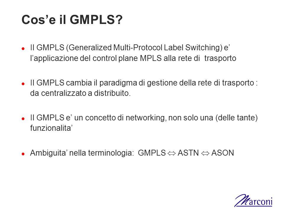 Cos'e il GMPLS? Il GMPLS (Generalized Multi-Protocol Label Switching) e' l'applicazione del control plane MPLS alla rete di trasporto Il GMPLS cambia
