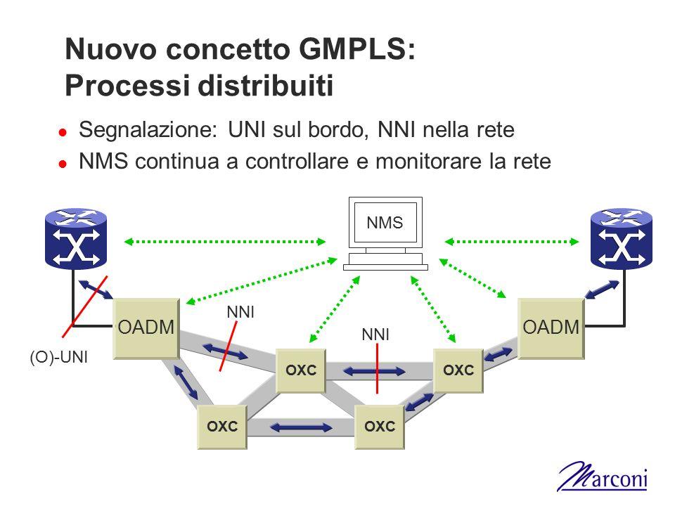 Nuovo concetto GMPLS: Processi distribuiti Segnalazione: UNI sul bordo, NNI nella rete NMS continua a controllare e monitorare la rete OXC OADM OXC NM
