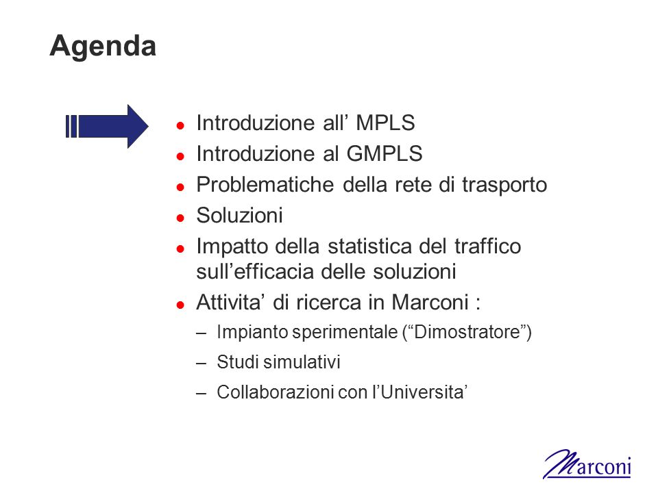 Conseguenze Algoritmi di routing multi-metrica con constraint –NP-completi –Sono perseguibili soluzioni trattabili ma sub-ottime Difficolta' nella sommarizzazione e nel riporto delle informazioni da parte dei protocolli di routing –Maggior impatto del traffico di routing –Maggior quantita' di informazioni nelle tabelle di routing Necessita' di ottimizzare piu' risorse –Occupazione dei link –Numero e posizione dei rigeneratori OEO Gestione centralizzata da NMS, almeno per parti della rete
