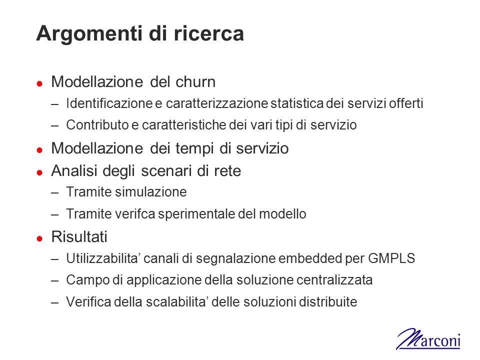 Argomenti di ricerca Modellazione del churn –Identificazione e caratterizzazione statistica dei servizi offerti –Contributo e caratteristiche dei vari