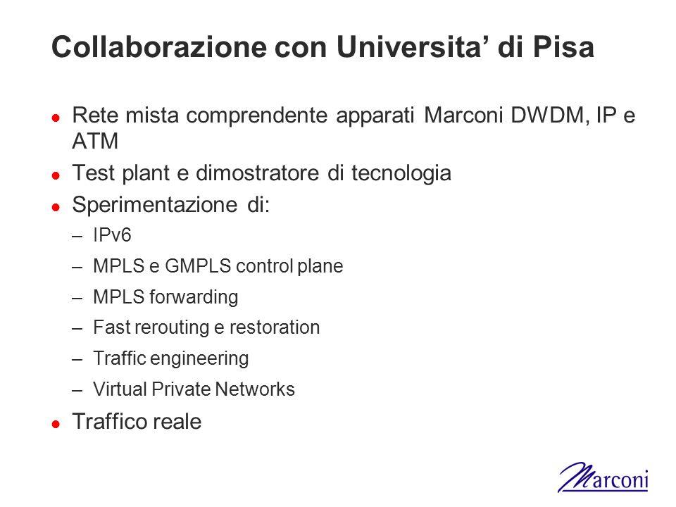 Collaborazione con Universita' di Pisa Rete mista comprendente apparati Marconi DWDM, IP e ATM Test plant e dimostratore di tecnologia Sperimentazione