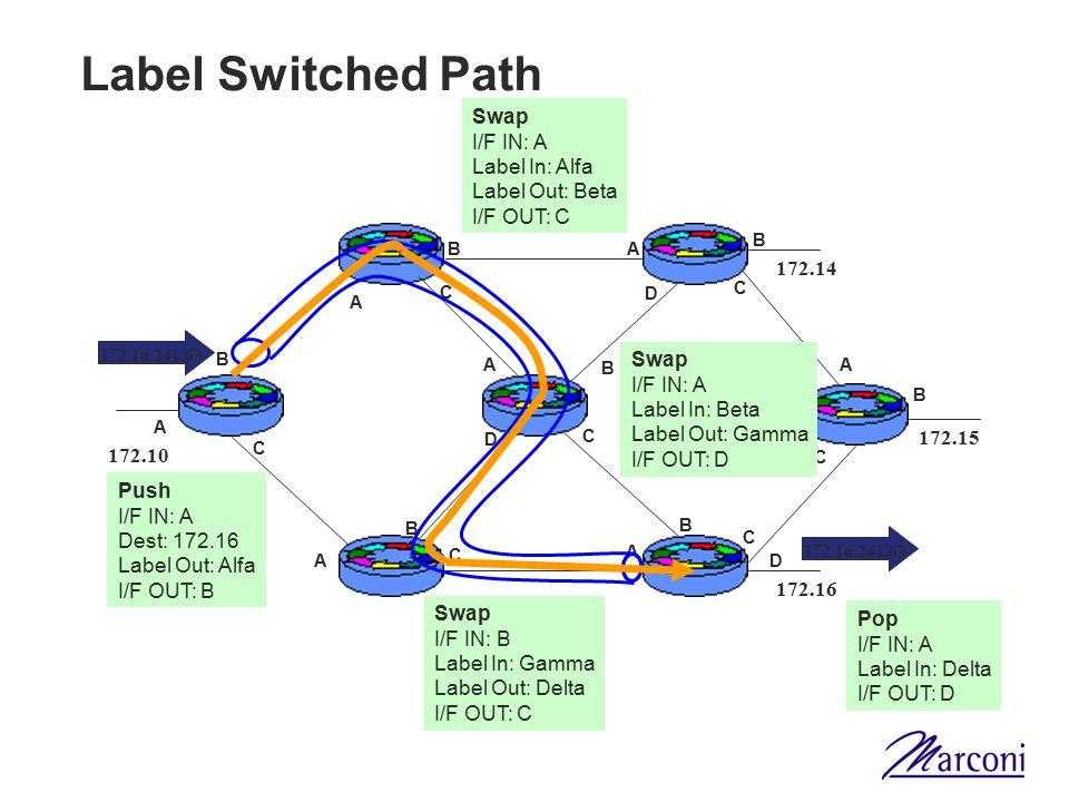 Label Switched Path A C A A A A A A B B B B B B B C C C C C C D D D 172.10 172.14 172.15 172.16 172.16.241.63 Push I/F IN: A Dest: 172.16 Label Out: A