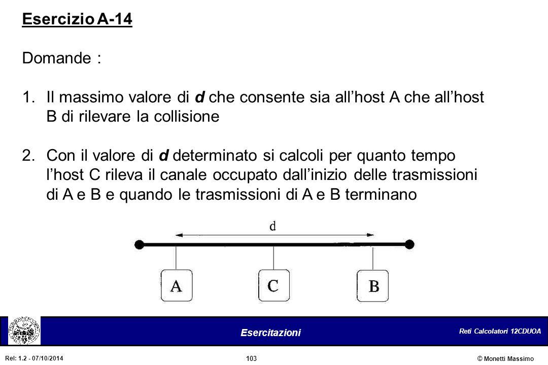 Reti Calcolatori 12CDUOA 103 Esercitazioni © Monetti Massimo Rel: 1.2 - 07/10/2014 Esercizio A-14 Domande : 1.Il massimo valore di d che consente sia