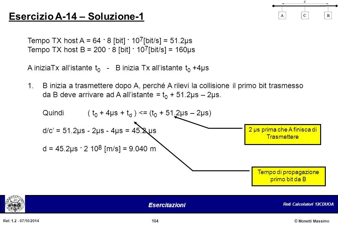 Reti Calcolatori 12CDUOA 104 Esercitazioni © Monetti Massimo Rel: 1.2 - 07/10/2014 Esercizio A-14 – Soluzione-1 Tempo TX host A = 64. 8 [bit]. 10 7 [b