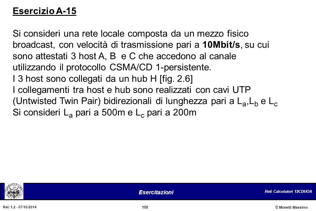 Reti Calcolatori 12CDUOA 108 Esercitazioni © Monetti Massimo Rel: 1.2 - 07/10/2014 Esercizio A-15 Si consideri una rete locale composta da un mezzo fi