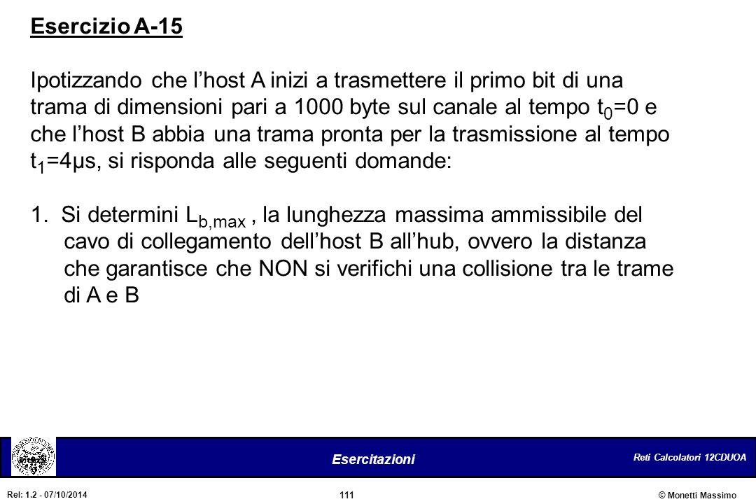 Reti Calcolatori 12CDUOA 111 Esercitazioni © Monetti Massimo Rel: 1.2 - 07/10/2014 Esercizio A-15 Ipotizzando che l'host A inizi a trasmettere il prim
