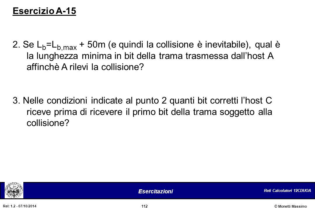 Reti Calcolatori 12CDUOA 112 Esercitazioni © Monetti Massimo Rel: 1.2 - 07/10/2014 Esercizio A-15 2. Se L b =L b,max + 50m (e quindi la collisione è i