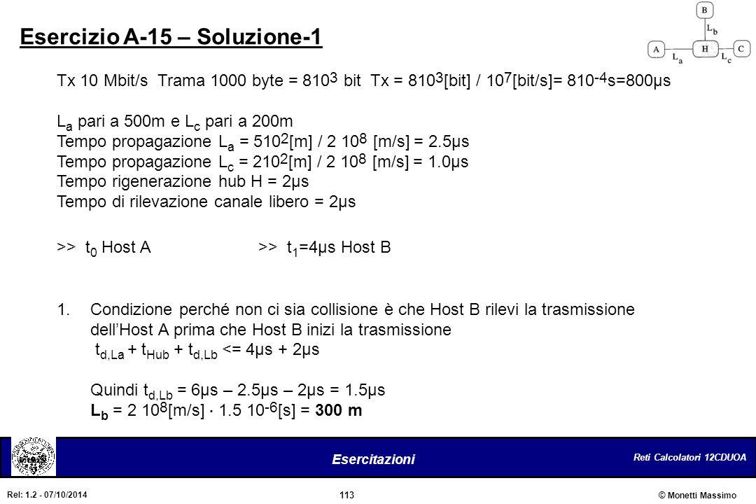 Reti Calcolatori 12CDUOA 113 Esercitazioni © Monetti Massimo Rel: 1.2 - 07/10/2014 Esercizio A-15 – Soluzione-1 Tx 10 Mbit/s Trama 1000 byte = 810 3 b